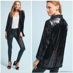 Anthro Cartonnier Black Sequined Blazer Jacket